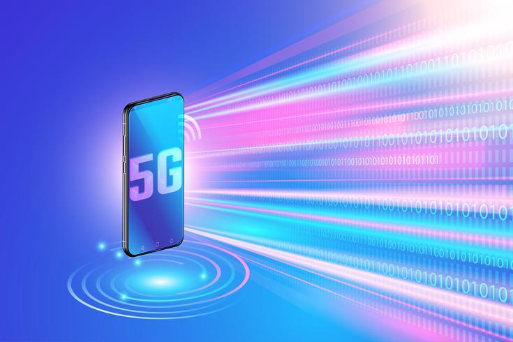 5g-Netzwerktechnologie auf Smartphone und drahtlosem Hochgeschwindigkeitsnetzwerk. Internet der nächsten Generation