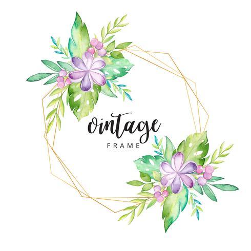 Acuarela marco floral tropical