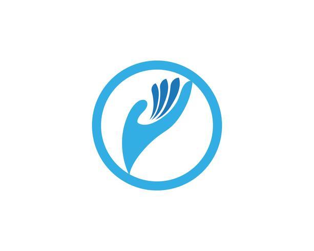Icono de plantilla de logotipo y símbolos de cuidado de mano