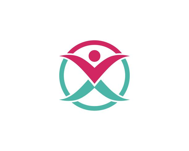 gente cuidado éxito salud vida logotipo plantilla
