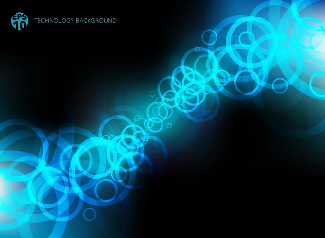 Movimento azul dos círculos da tecnologia abstrata no fundo preto.