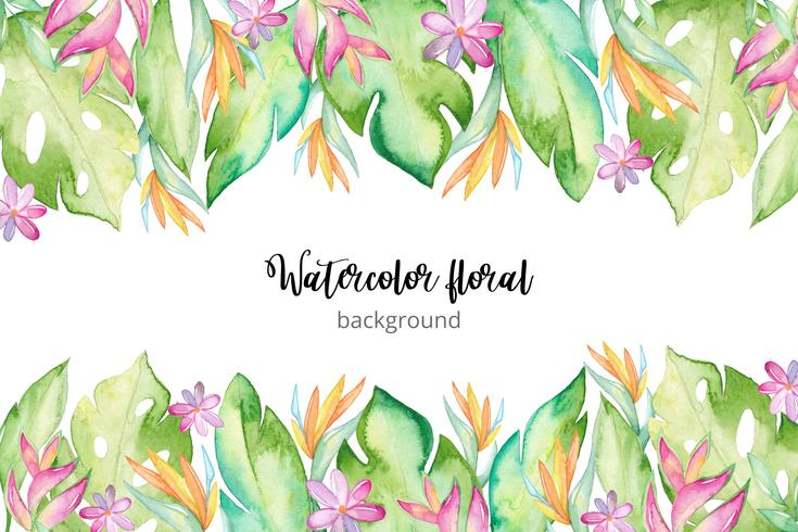 Aquarelle fond tropical vecteur