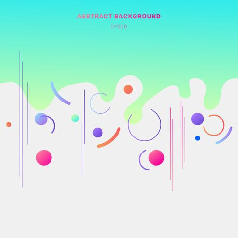Abstract composition vibrant color geometric splash circles shapes and lines on white background trendy style.