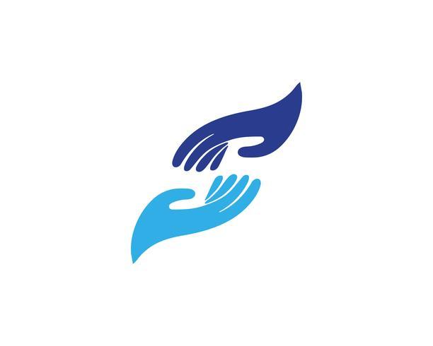 Logotipo de cuidados de mão e modelo de símbolos