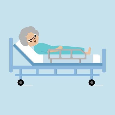 Mujer mayor que miente en cama de hospital. vector