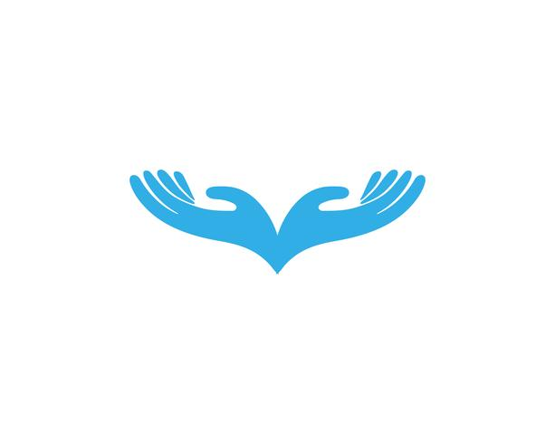 Modello di logo e simboli di cura della mano