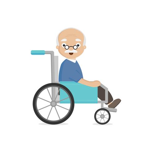Old man grandfather disabled in wheelchair  vector