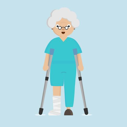Senior woman broken leg hold and walk with aluminum crutch.