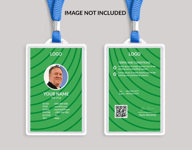 Modello di carta d'identità bella verde
