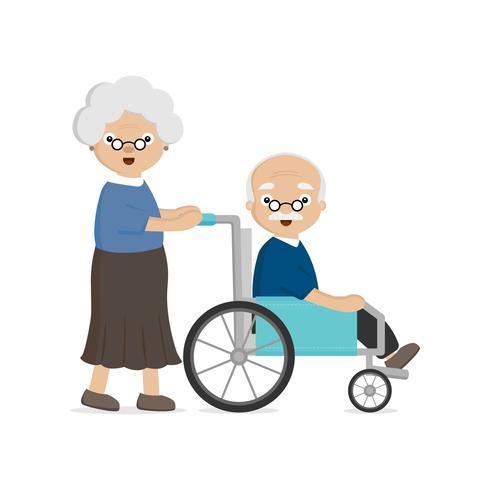 Pareja mayor de edad avanzada. Anciana lleva a un anciano en silla de ruedas. vector