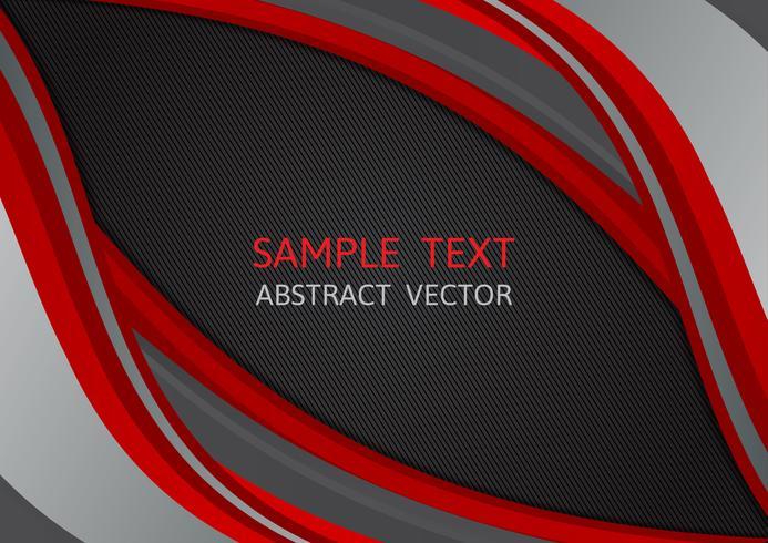 Fondo de vector abstracto de onda de color rojo y negro con espacio de copia, ilustración vectorial