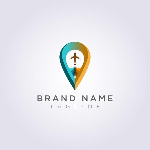 Logo Design Combined planes and destination symbols for your Business or Brand