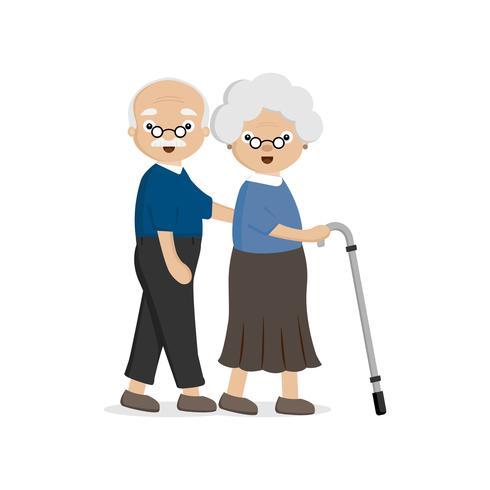 Pareja mayor de edad avanzada. Viejo hombre que ayuda a una mujer mayor con el bastón. vector
