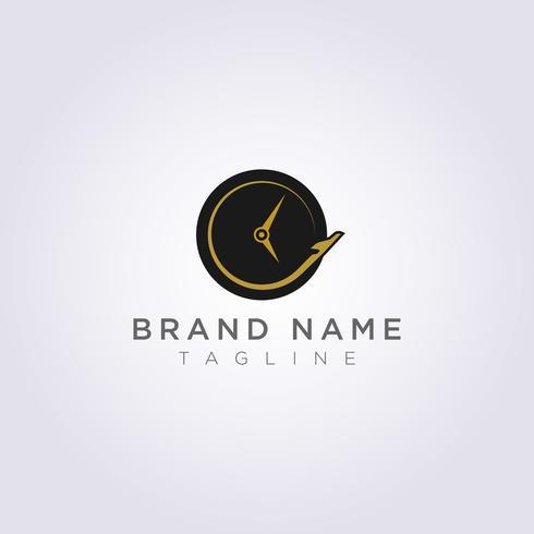 Airplane Logo Design che circonda l'orologio per il tuo Business o Brand