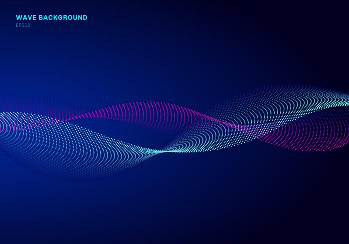 Abstract network design with particle blue and pink wave. Dynamic particles sound wave flowing on glowing dots dark background.