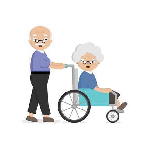 Pareja mayor de edad avanzada. Viejo lleva a una anciana en silla de ruedas. vector
