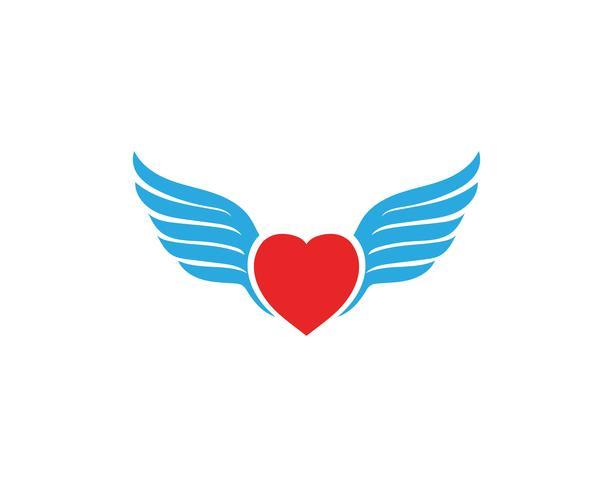 Amor ala Logo y símbolos Vector plantilla