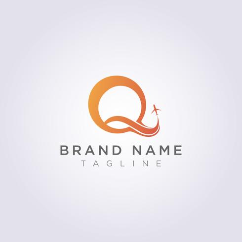 Das Logo-Design kombiniert den Buchstaben Q mit dem Flugzeug für Ihr Unternehmen oder Ihre Marke