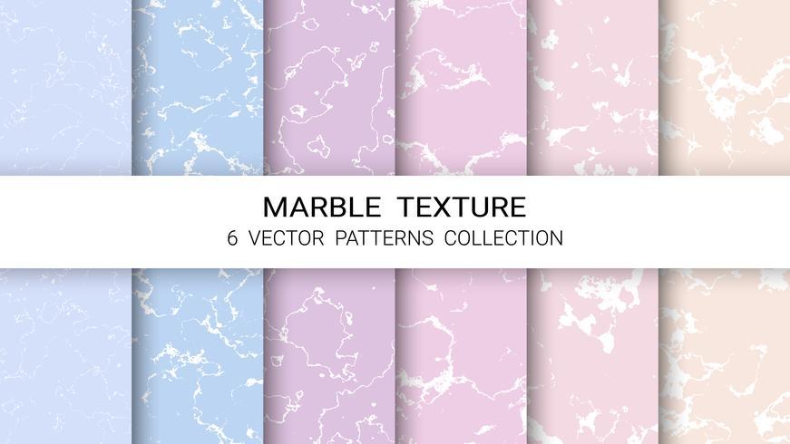Textura de mármol, conjunto de colección de patrones vectoriales, plantilla de fondo abstracto.