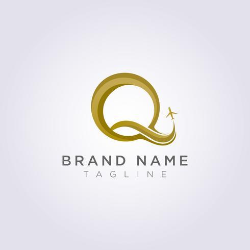 Logo Design combineert de letter Q met het vliegtuig voor uw bedrijf of merk