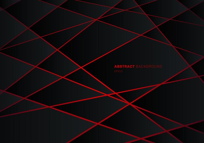 Abstract black geometric polygon on red laser light neon futuristic technology design concept background.