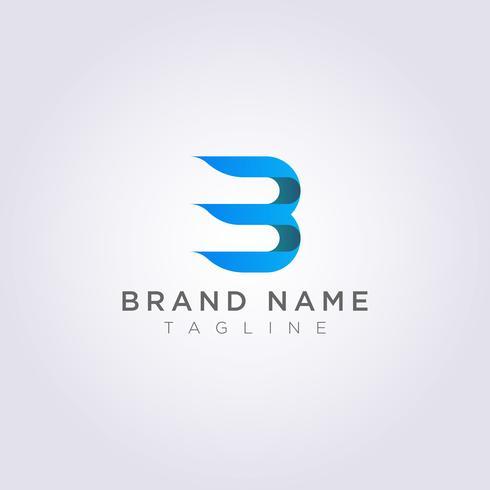 Das kombinierte Logo-Design von Buchstabe B mit der Nummer 3 für Ihr Unternehmen oder Ihre Marke