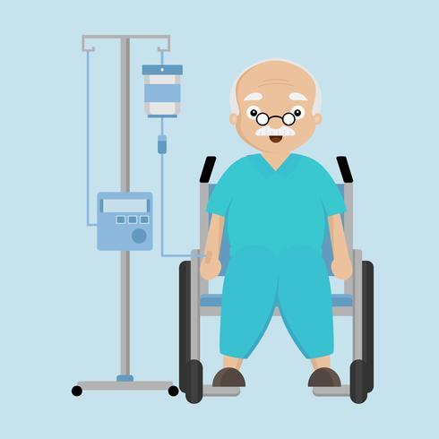 Senior man sitter på rullstol med en droppräknare.