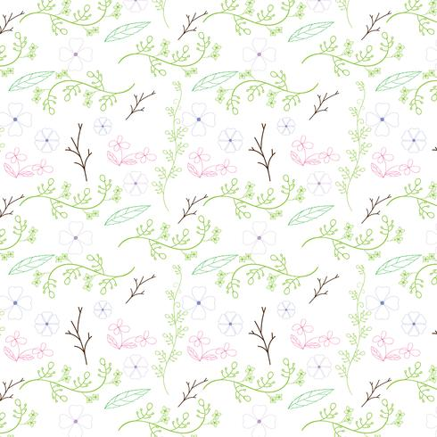 Colorful flower and vine seamless pattern design on white background. Vector illustration