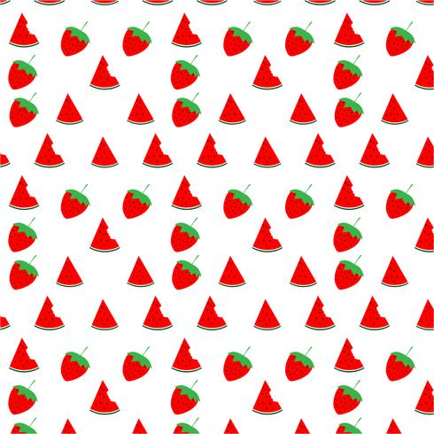 Watermelon and strawberry seamless pattern design on white background, vector illustration