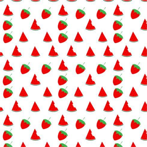 Watermeloen en aardbei naadloos patroonontwerp op witte achtergrond, vectorillustratie