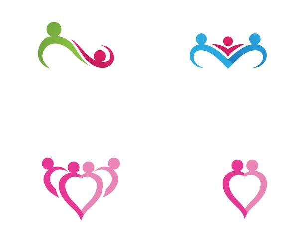 modèle de logo et symboles d'amour de soins familiaux