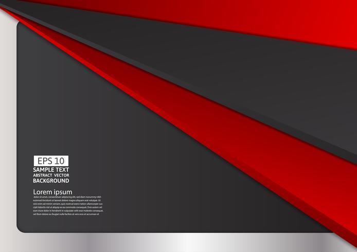 Geometrisk abstrakt bakgrund röd, svart och silver färg, Vektor illustration