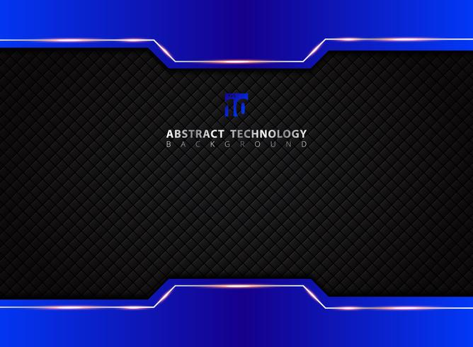 Mall blå och svart kontrast abstrakt teknik bakgrund.