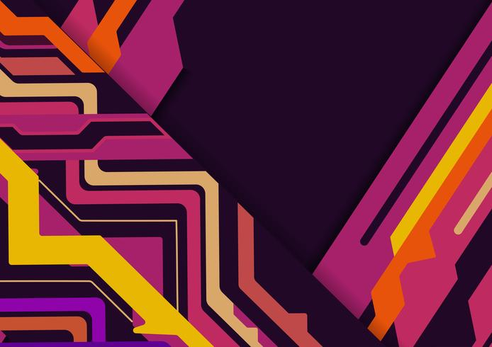 Multicolored  abstract geometric on purple background with copy space, Vector illustration