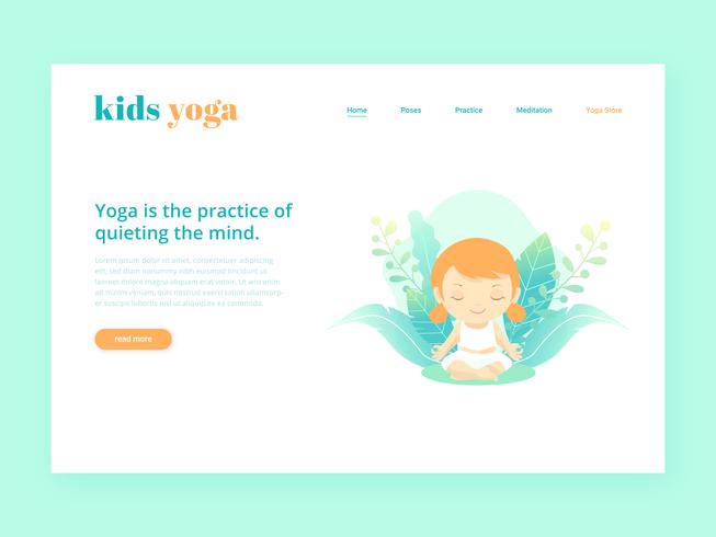 Kids Yoga Landing Page Vector sjabloon