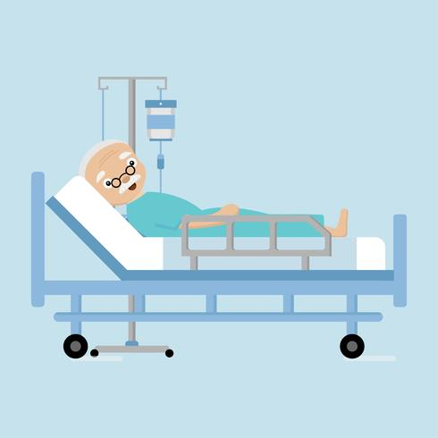 Senior man lying in hospital bed with a drop counter.