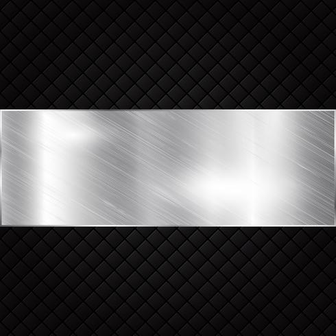 Silver metallic banner on black squares textured background. vector