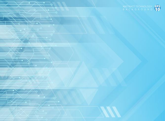 Abstract technology geometric corporate arrows with circuit board blue background. vector