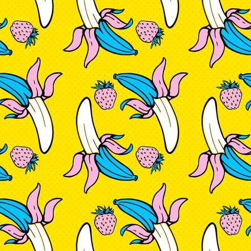 Zomer voedsel naadloze pop-art patroon