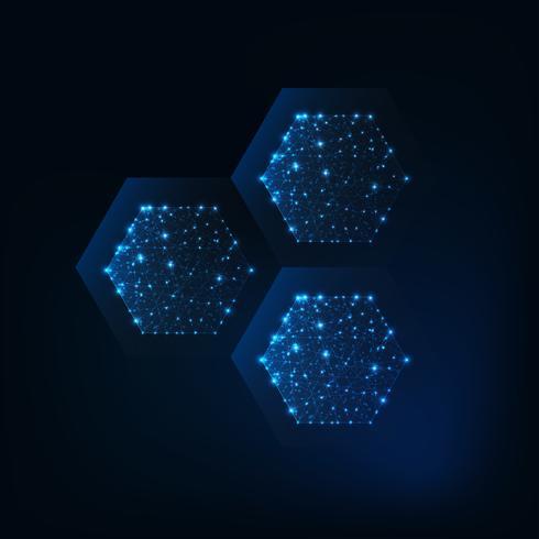 Abstrakt hexagonal struktur molekyl gjord av glödande linjer, stjärnor, prickar, låg polygonala former.