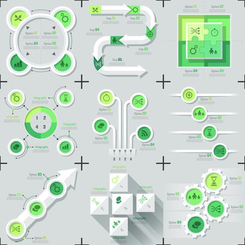 Set di 9 infographics minimal piatto