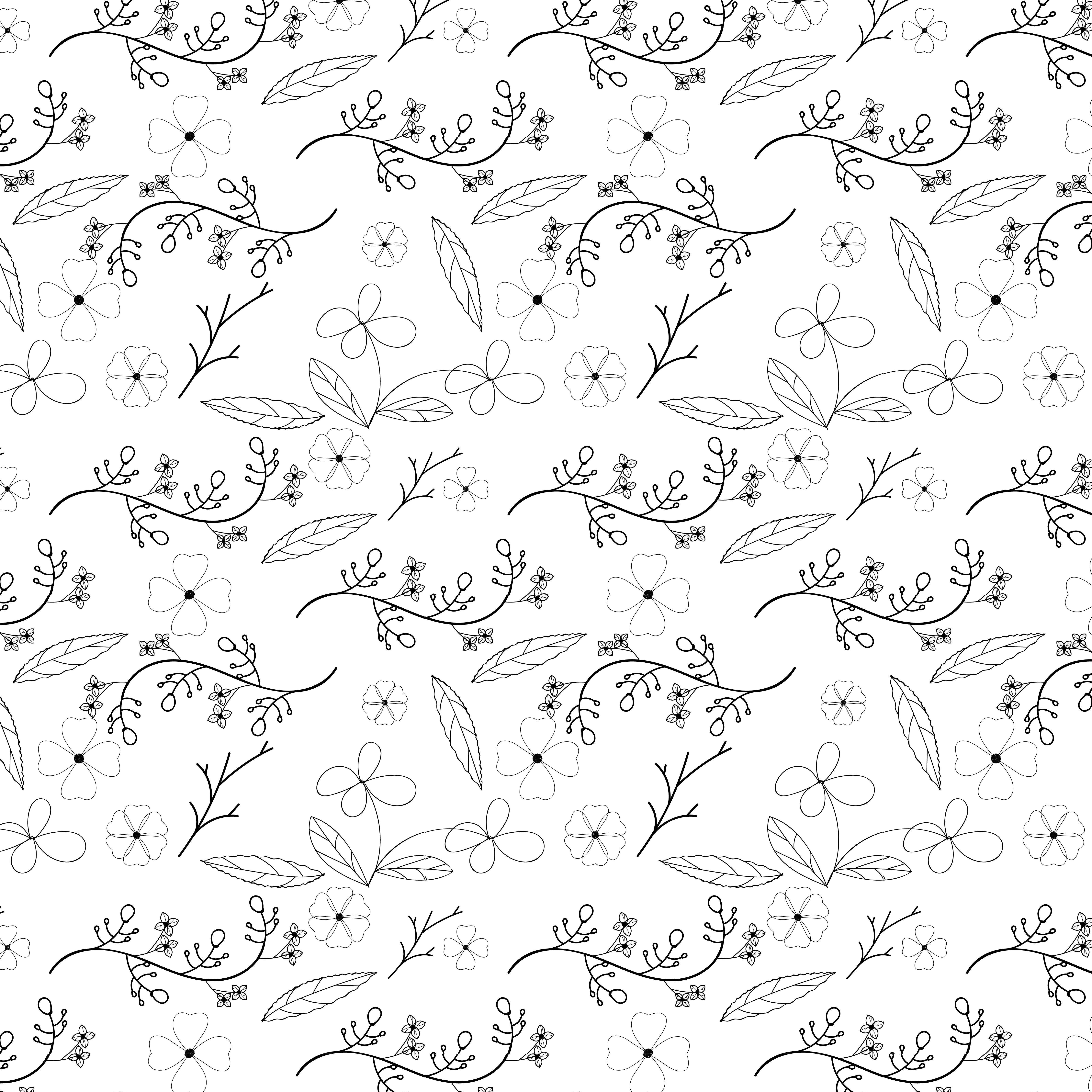 Flower And Vine Seamless Pattern Design On White Background
