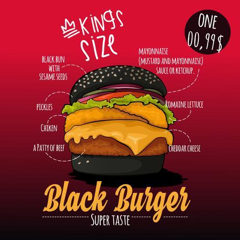 Infografik Black Burger Zutaten Poster vektor