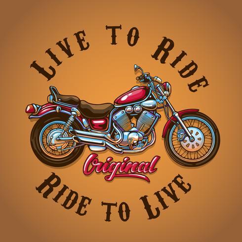 Motocicletta Live to Ride per la stampa di t-shirt