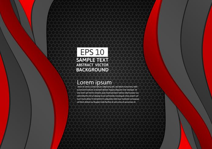 Black and red color geometric curve abstract background with copy space for your business, Vector illustration