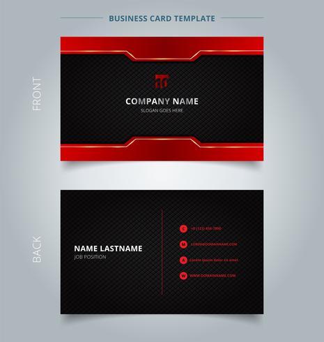 Namecard mallteknik röd och svart mönster bakgrund. vektor