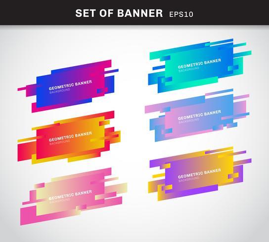 Ensemble de bannières géométriques ou de cartes en plastique de couleur vive dégradé étiquette faites dans un style de conception matérielle. Vous pouvez utiliser pour la bannière de ruban de promotion, étiquette de prix, autocollant, badge, affiche.