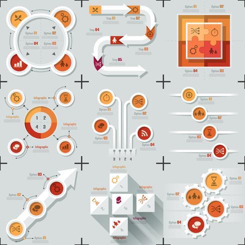 Ensemble de 9 infographies plates minimes