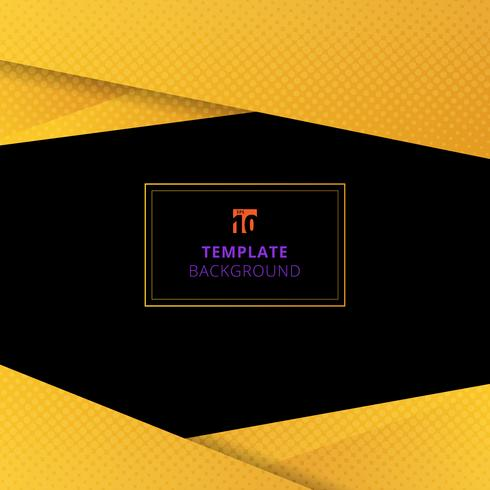 Template yellow geometric background with halftone texture. vector