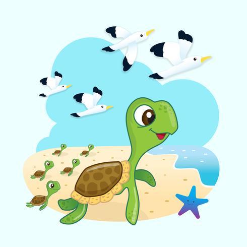 Zeeschildpadden op weg naar de oceaan